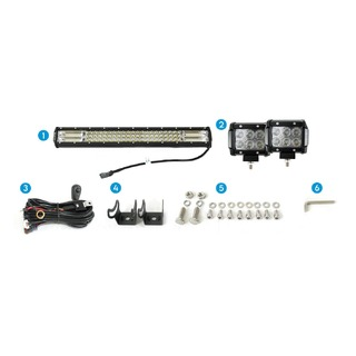 "Elinz 23"" LED Light Bar 3 Rows Philips bundle 2x 18W 4 inch CREE Driving Worklight"