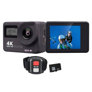 Elinz 2.0 Sports Action Camera 4K 1080P Touch Screen Dual UHD 16MP Remote Control 32GB