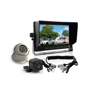 "Elinz 7"" Monitor HD 12V/24V Reversing CCD 2 Camera 4PIN System Trailer Cable Caravan"