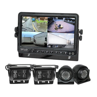 "Quadscreen 9"" DVR 4 Camera Package Kit 360 View Reversing Forward Side 12V 24V Bus Trucks Caravan"