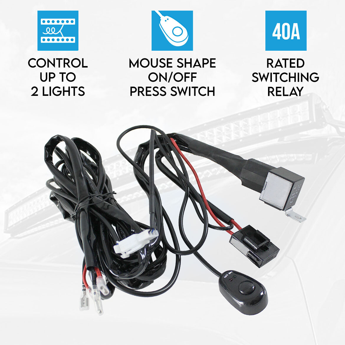 wiring loom harness for led hid fog spot work driving Driving Lights for Automotive Relay Light Switch Wiring Diagram