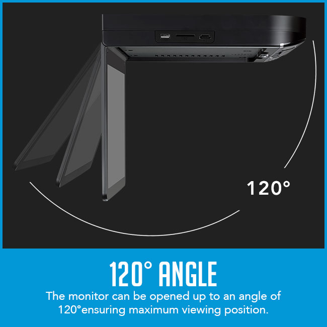 """roof mount flip down car dvd player with caption """"can be opened up to 120° angle """""""