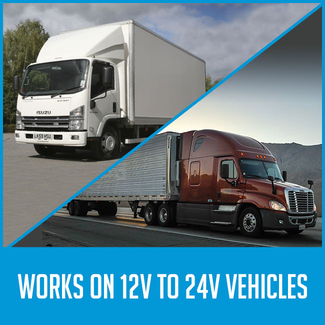 "images of trucks, with caption ""works on 12v/24v vehicles"""