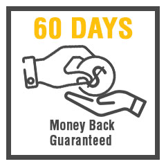 "money being given back with caption ""60 days money back guaranteed"""