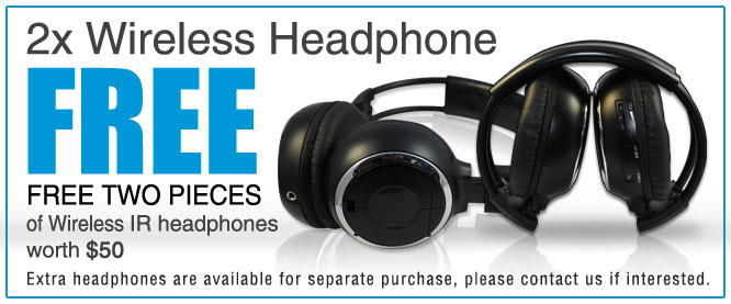 free headphone car roof mount dvd