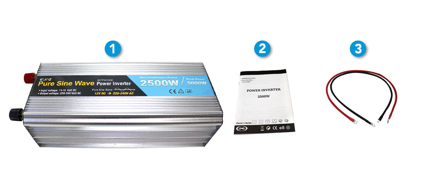 """2500W Pure Sine Wave Inverter, cables and manual with caption """"what's included"""""""