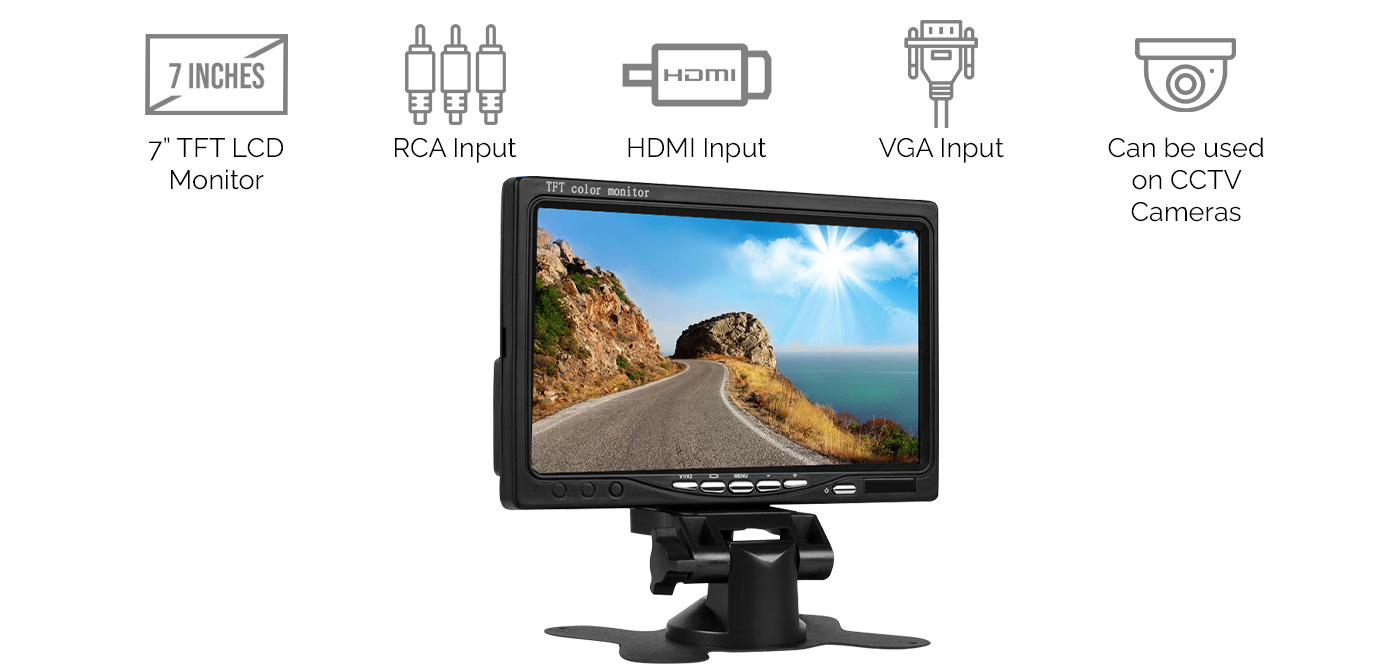 """7"""" TFT LCD Monitor for Car Rear View Home CCTV System"""
