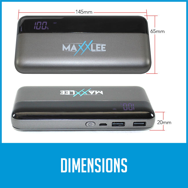 maxxlee power bank dimension. 20mm thick, 145mm width, 65mm tall