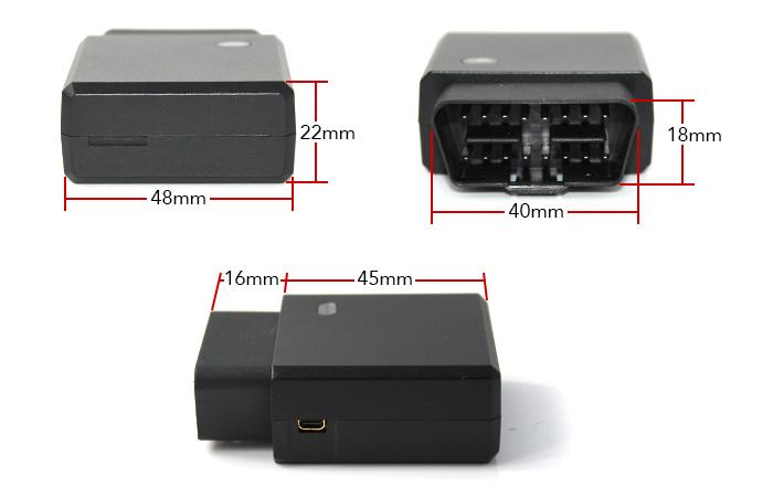 GPS Tracker OBD2 Diagnostic Scanner Dimensions