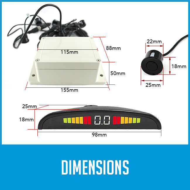 sensor kit, sensors and lcd indicator dimensions