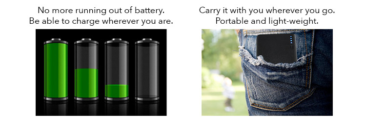 "battery graphic with caption ""no more running out of battery"""