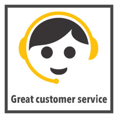 """great customer service"" graphic"