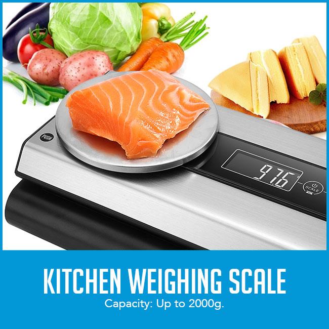 food being weighed on food vacuum sealer