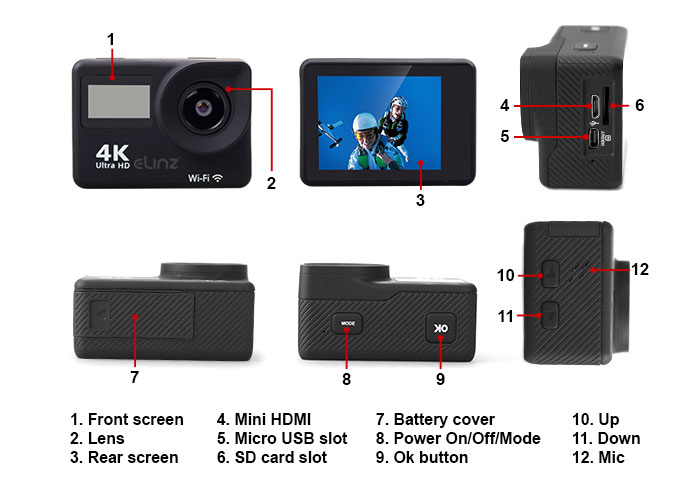action camera buttons