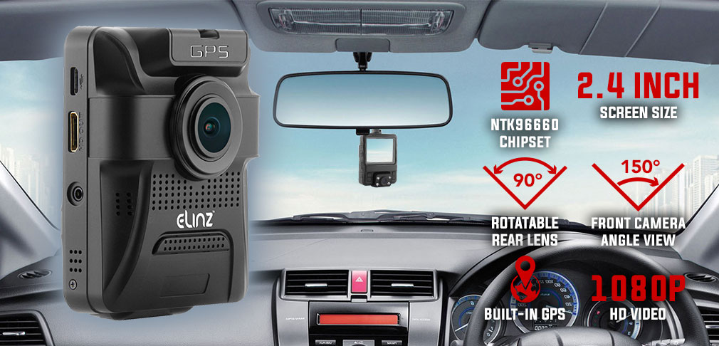 Dash Cam Dual Camera GPS Rotatable Lens 1080P