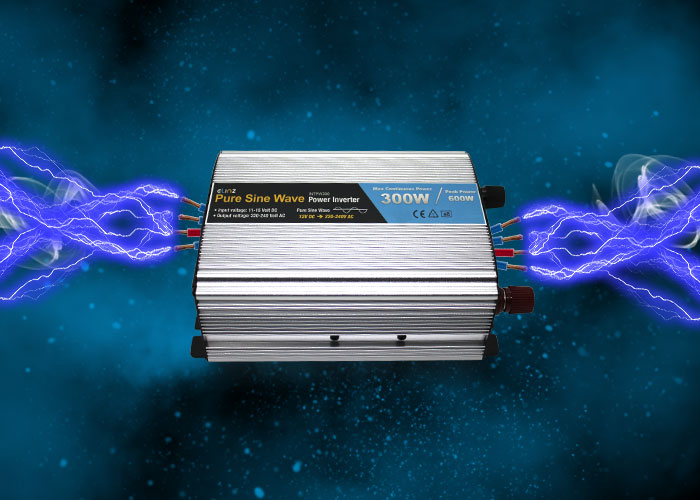 Pure Sine Wave inverter with caption maximum continuous power 300W