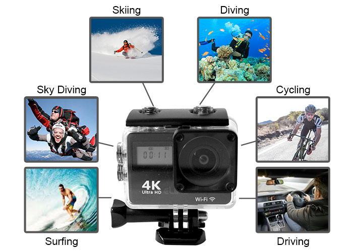 action camera multifunction uses graphic for skiing, diving, cycling, surfing