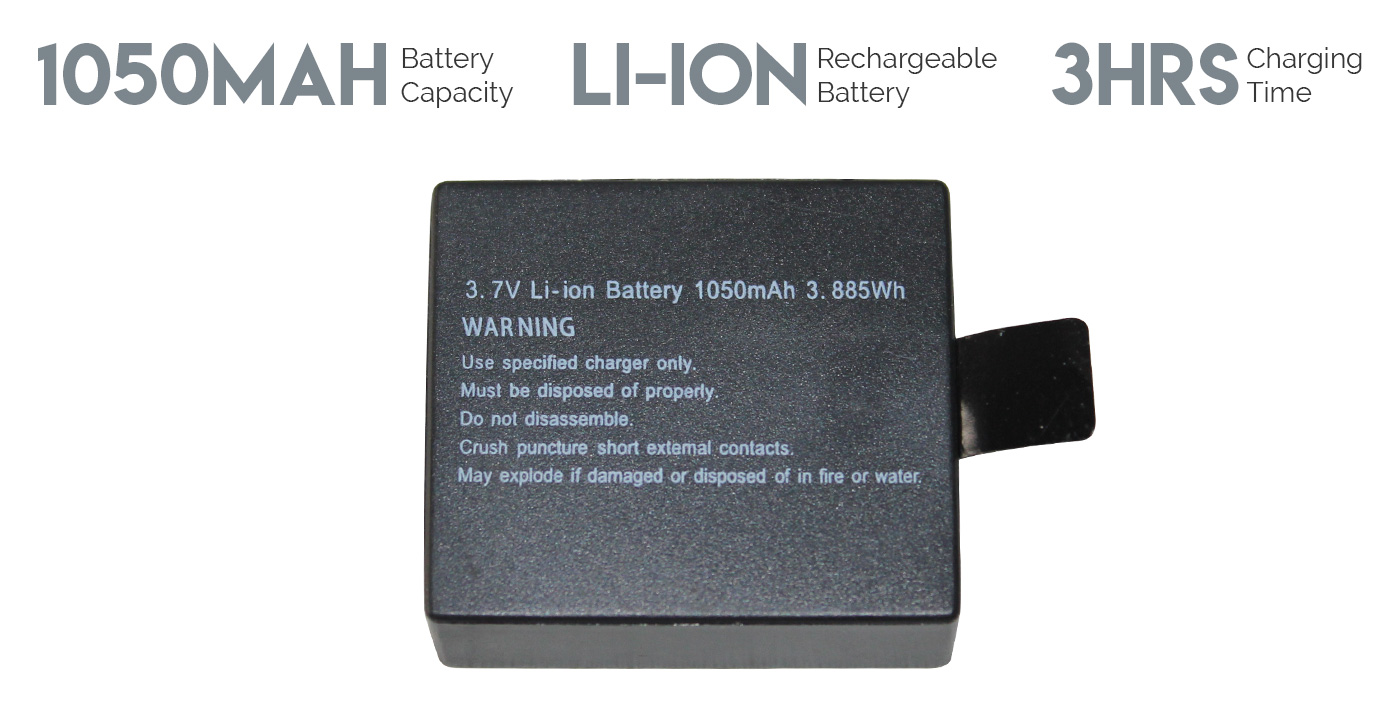 Action camera extra rechargeable battery