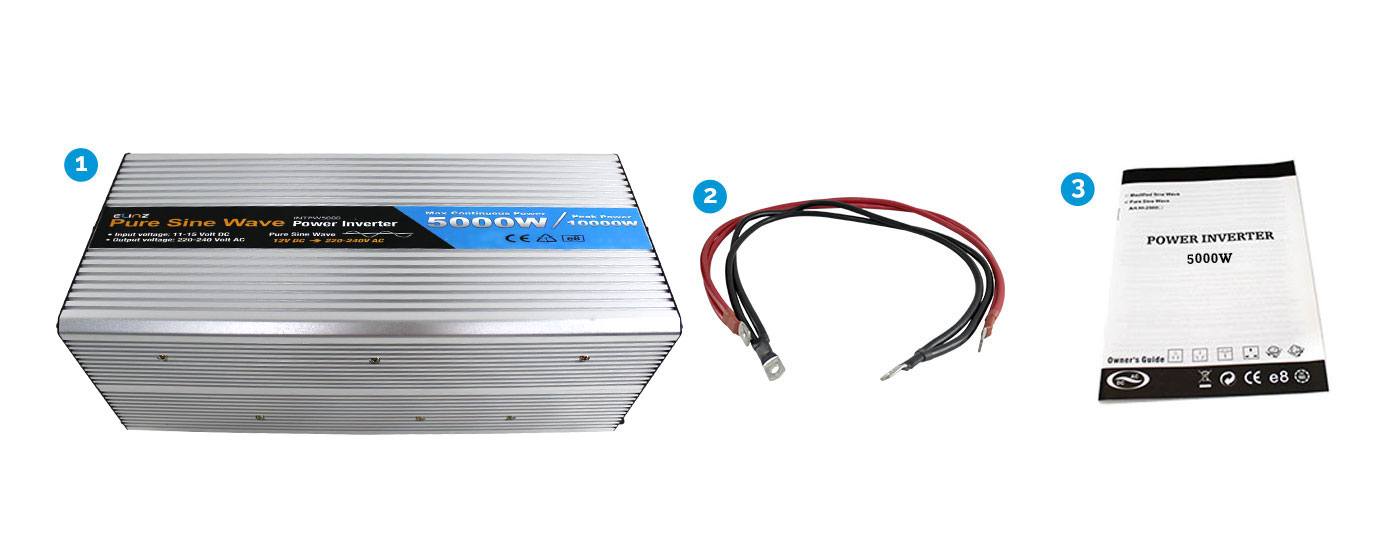 5000W Pure Sine Wave Inverter with Power Cables and Clamps