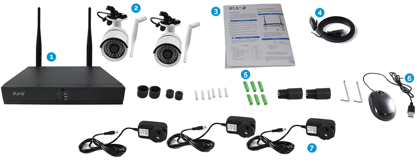 4CH CCTV Wireless Security IP WiFi Camera 1080P
