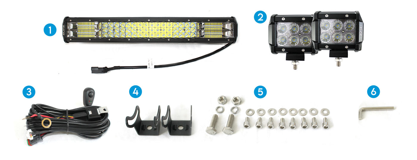 "20"" led light bar, 2x4""led lights, power cable, mounts, nuts and bolts, allen wrench"