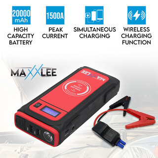 Maxxlee 1500A Car 12V Vehicle Portable Emergency Jump Starter & Battery Charger 20000mAh Wireless Charging Power Bank