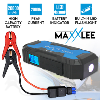 Maxxlee 2000A Car 12V Vehicle Portable Emergency Jump Starter Battery Charger 36800mAh Dual USB Smart Clamp