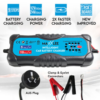 Maxxlee Smart Battery Charger 2A 5A 10A 12V/24V Automatic 9 stages SLA  Car 4WD Caravan