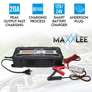 Maxxlee 20A 12V 24V Smart Automatic 8 Stage Fast Battery Charger SLA Car 4WD Caravan 10A