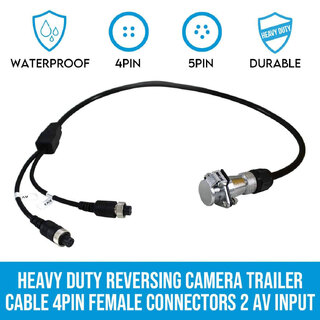 Heavy Duty Reversing Camera Trailer Cable Coil 4PIN Female Connectors 2 AV Input