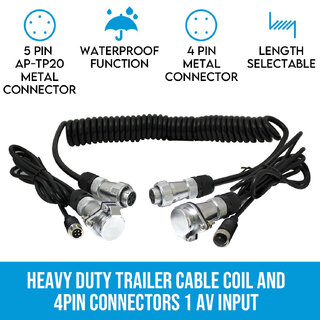 Heavy Duty Trailer Cable Coil and 4PIN Connectors 1 AV Input
