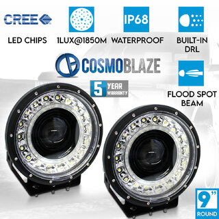 "Cosmoblaze 9"" Driving Lights Flood Spot Combo Beam CREE LED Pair Round 1LUX @1850M 4x4 Truck Off Road Waterproof Built-in DRL"