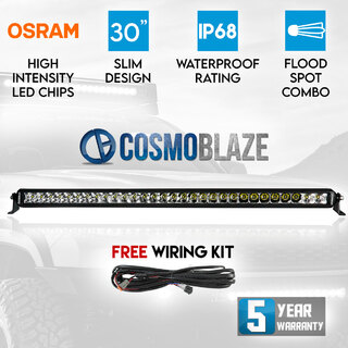 "Cosmoblaze 30"" Osram LED Light Bar Driving 1 Row Flood Spot Combo Beam 4x4 Truck"