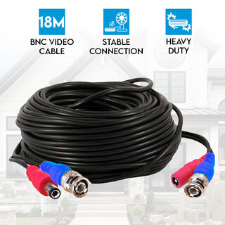 Heavy Duty BNC Video Cable 18M for 4CH 8CH Security Camera System Elinz