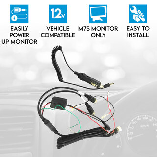 Elinz Car Charger for Reversing Camera Monitor Power Harness 12V Caravan