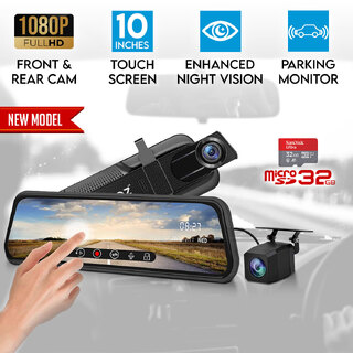 "Elinz 10"" Rearview Mirror 1080P Full Touch Screen Car Dual Dash Cam Reversing Camera Hardwire Kit 32GB"