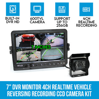 "7"" DVR Monitor 4CH Realtime Vehicle Reversing Recording CCD Camera Kit Truck Bus"