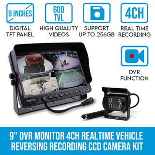 "9"" DVR Monitor 4CH Realtime Vehicle Reversing Recording CCD Camera Kit Truck Bus"