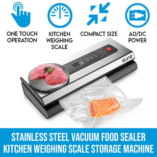 Elinz Stainless Steel Food Vacuum Sealer Bags Packaging Saver Kitchen Weighing Scale Storage Machine