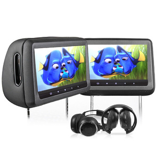 "2X10.1"" HD Headrest Car DVD Player Monitor Pillow BLACK"