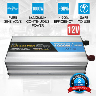 Pure Sine Wave Power Inverter 1000W / 2000W 12V - 240V AUS Plug Car Boat Caravan