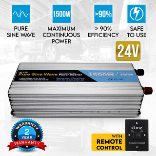 Pure Sine Wave Power Inverter 1500W/3000W 24V-240V AUS Plug Remote Control