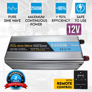 Pure Sine Wave Power Inverter 2500W/5000W 12V-240V AUS Plug Remote Control