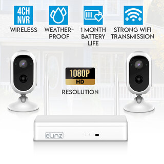Elinz Wireless Wire-free Home Battery Security 1080P HD WiFi 2x Camera CCTV System NVR Indoor Outdoor NO HDD