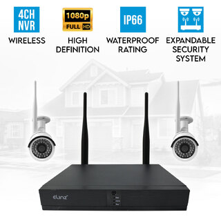 Elinz 4CH CCTV Wireless Security System 2MP 2x IP WiFi Camera 1080P NVR Outdoor No HDD