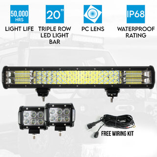 "Elinz 20"" LED Light Bar Philips 3 Rows bundle 2x 18W 4 inch CREE Worklight Driving"