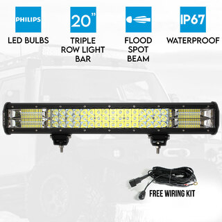 "Elinz 20"" LED Work Driving Light Bar Philips FLOOD SPOT COMBO Offroad 4WD 3 Rows"