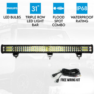 "Elinz 31"" inch LED Light Bar 3 Rows Work Driving FLOOD SPOT COMBO Philips Offroad 4WD"