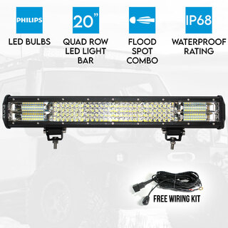 "Elinz 20"" LED Light Bar Philips 4 Rows Work Driving FLOOD SPOT COMBO IP68 Offroad 4WD"