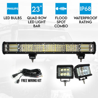 "Elinz 23"" LED Light Bar Philips 4 Rows Bundle 2x 60W Driving WorkLight Flood Spot Beam"